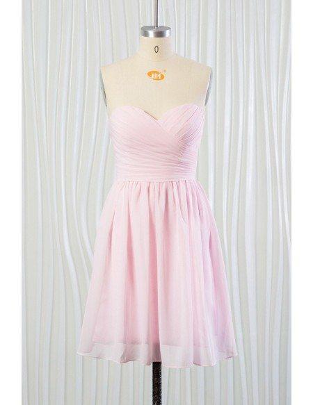 Blush Pink Beach Bridesmaid Dress Short