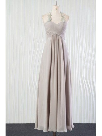 Vintage Silver Beach Bridesmaid Dress Long Halter With Lace