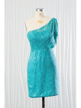 Elegant Aqua Lace Short Bridesmaid Dress In One Shoulder