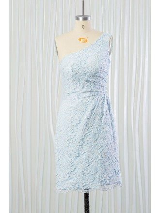 Light Blue Short Lace Bridesmaid Dress One Shoulder for 2018 Summer