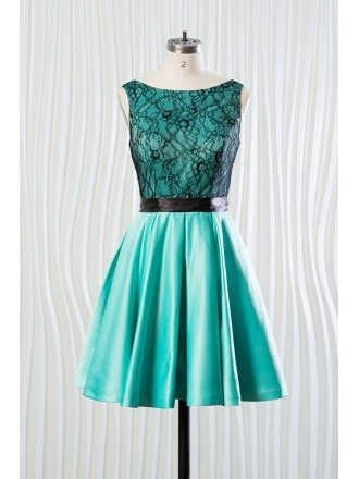 Short Teal Satin Bridesmaid Dress With Black Lace Bodice