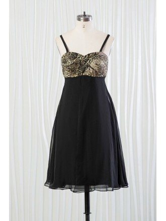 Short Black Bridesmaid Dress With Shiny Leopard Lace Top