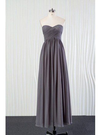 Simple Long Grey Bridesmaid Dress In Chiffon for Summer Weddings
