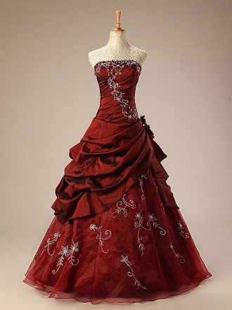 Burgundy Ballgown Embroidered Strapless Long Gown with Ruffles