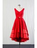 Tiered Lace Satin Red Party Dress Short for Wedding Receptions