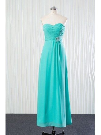 Aqua Long Chiffon Bridesmaid Dress Pleated With Beading