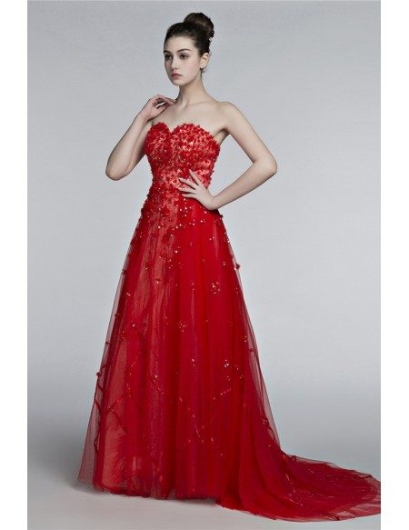 Unique Floral Long Red Prom Dress Trained With Sweetheart Neckline