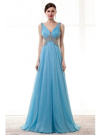 Flowy Long Sky Blue Prom Dress Beaded With Straps Sheer Back