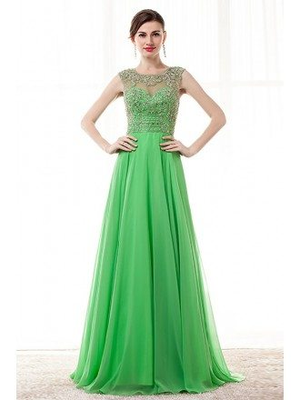 2018 Lime Green Long Beading Prom Dress With Key Hole Back