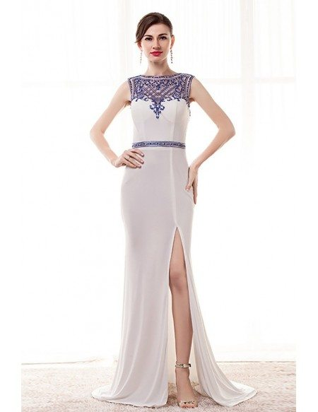 Tight Mermaid Slit White Prom Dress With Blue Beading