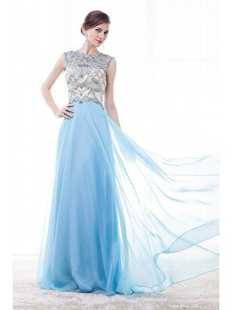 Vintage Sleeveless Prom Dress Sky Blue With Rhinestone Bodice