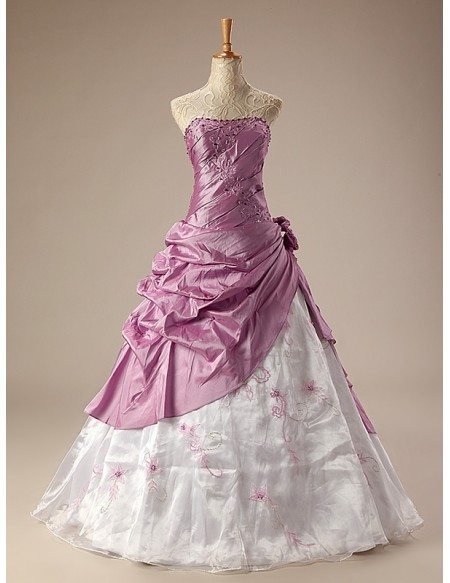 Ballgown Embroidered Strapless Two-tone Long Gown with Ruffles