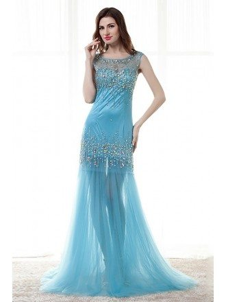 Sexy Tight Trumpet Sheer Prom Dress With Sparkly Crystals
