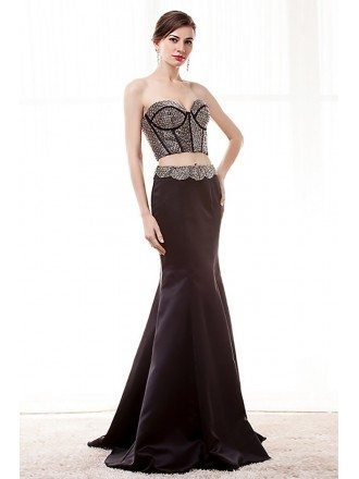 Unique Crop Top Sexy Black Prom Dress Two Piece With Sequin Bodice