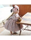 Country Vintage Lace Princess Flower Girl Dress With Sleeves For Weddings