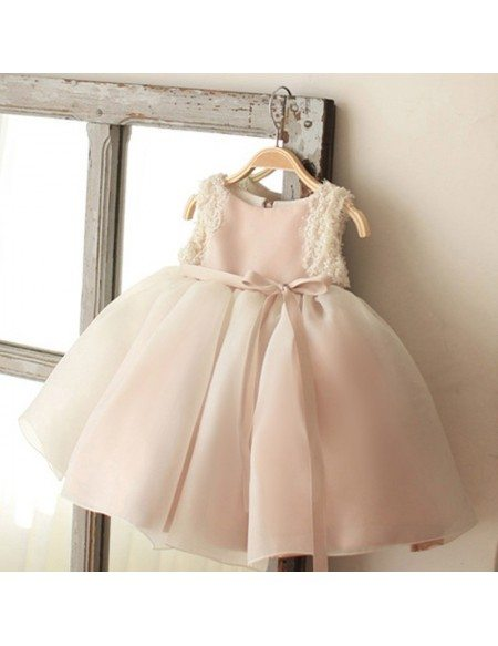 Vintage Blush Pink Tulle Flower Girl Dress Tutus Wedding Dress For Girls