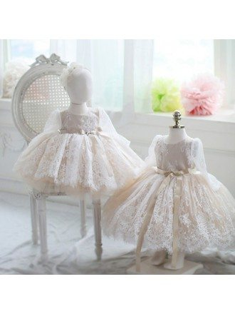 Ivory Vintage Lace Flower Girl Dress Long Sleeves Tutu Princess Ballgown Dress