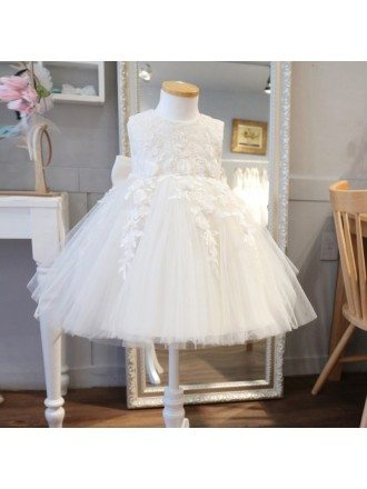 Super Cute Lace Ivory Flower Girl Dress Puffy Tulle Princess Wedding Dress