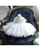 Cute Tutu Lace Flower Girl Dress White With Big Bow In Back