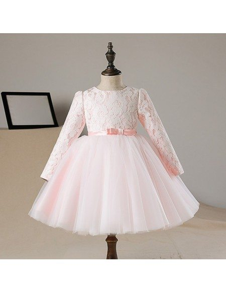 Lovely Peach Pink Lace Tutus Flower Girl Dress With Sleeves Tulle Pageant Gown