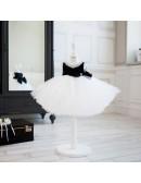 Modern Black And White Tutu Tulle Ballet Flower Girl Dress For Dance Parties Performance