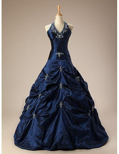 Halter Long Lace Ballgown Dress with Ruffles
