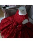 High-end Burgundy Lace Princess Flower Girl Dress Girls Pageant Gown
