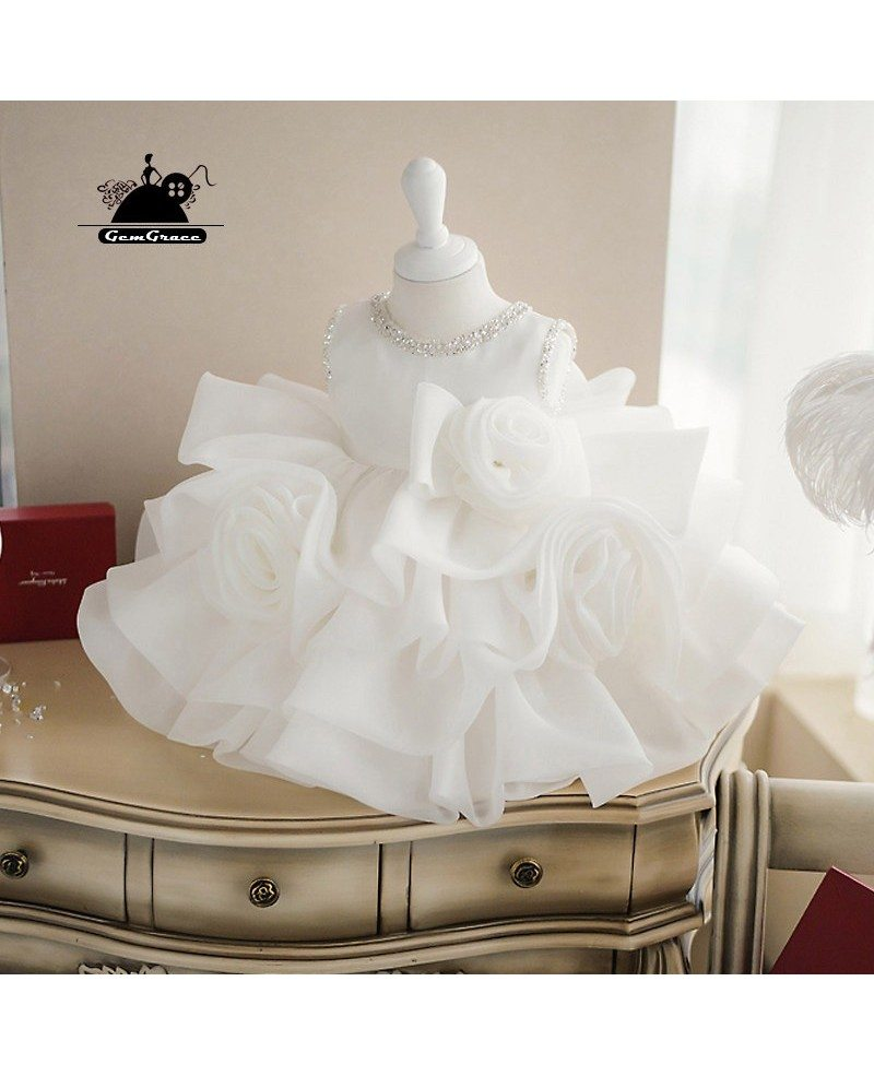 High-end Puffy Princess Ivory Flower Girl Dress Baby Girls Pageant