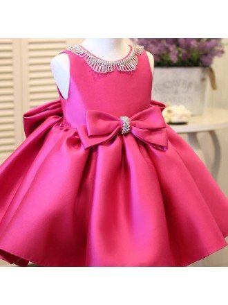 Fuchsia Satin Formal Flower Girl Dress With Bling Big Bows