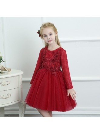 Burgundy Tulle Short Flower Girl Dress With Long Sleeves For Spring Weddings