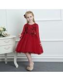 Burgundy Tulle Short Flower Girl Dress With Long Sleeves For Spring Weddings
