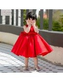 Red Satin Princess Ballgown Flower Girl Dress Girls Performance Pageant Gown