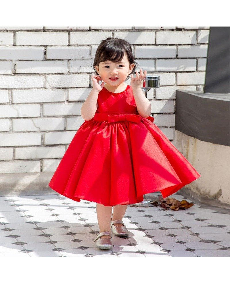 Red Satin Princess Ballgown Flower Girl
