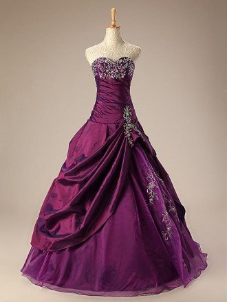 Ballgown Embroidered Sweetheart Taffeta Purple Wedding Dress with Ruffles