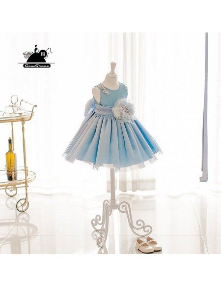 Blue Princess High-end Flower Girl Dress With Big Bow For Formal Parties