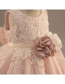 Vintage Lace Blush Pink Flower Girl Dress With Flowers Tutus Wedding Dress