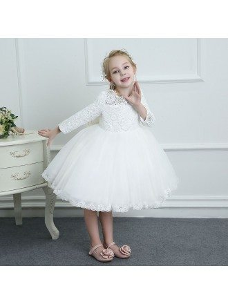 Couture White Lace Long Sleeve Flower Girl Dress Wedding Dress Ballgown High Quality