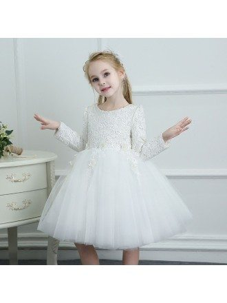 White Spring Tutus Flower Girl Dress Tulle Long Sleeves For Winter Weddings