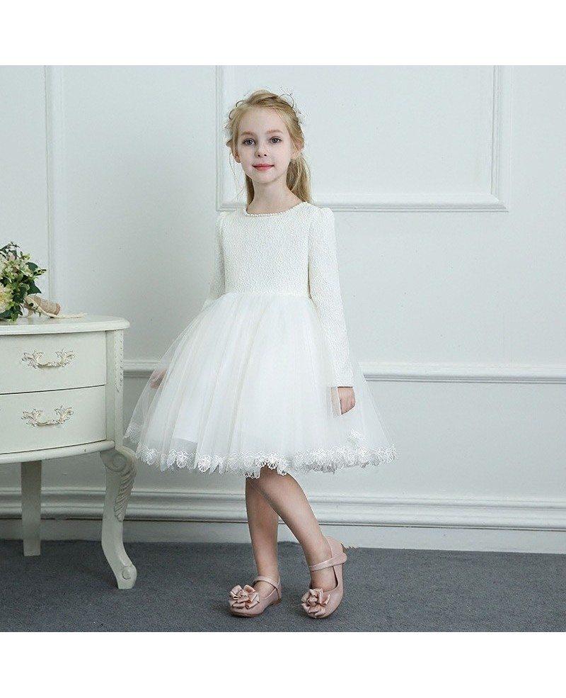 Vintage Ivory Beaded Lace Trim Flower Girl Dress Spring ...  Ivory Lace Vintage Flower Girl Dress