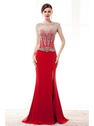 Slit Front Red Formal Dress Sleeveless With Sparkly Beading Top