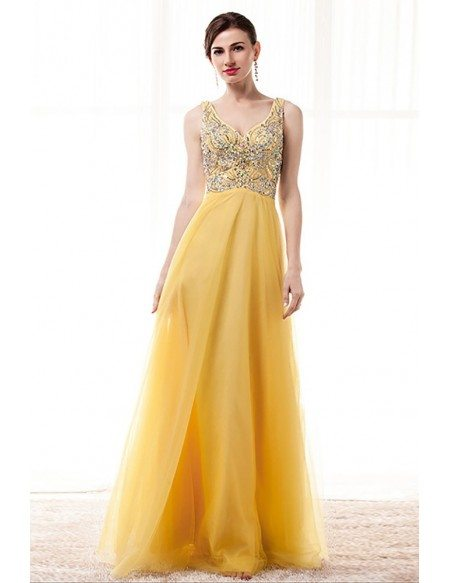 Princess Yellow A Line Prom Dress With Sparkly Beading V Neck