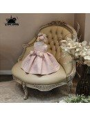Blush Pink Lace Couture Flower Girl Dress With Flowers Pageant Dress For Girls