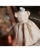 Vintage Champagne Ballgown Girls Pageant Gown Couture Flower Girl Dress With Bubble Sleeves