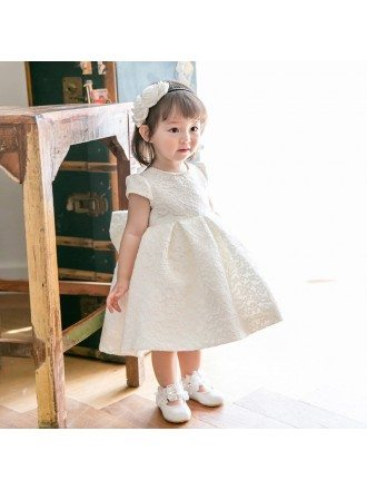 Cream White Lace Couture Flower Girl Dress With Bow Pageant Gown For Performance