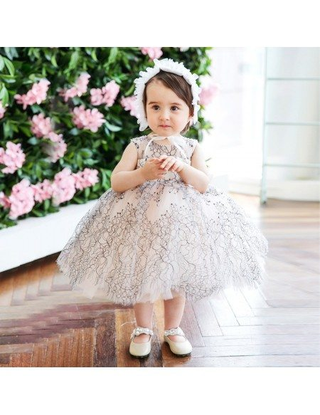 Unique Lace Princess Puffy Flower Girl Dress Modern Couture High Quality