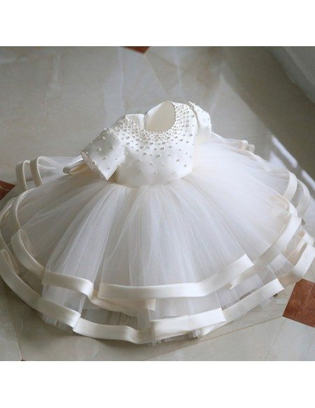 High-end Beaded Ivory Puffy Flower Girl Dress Pageant Gown With Sleeves