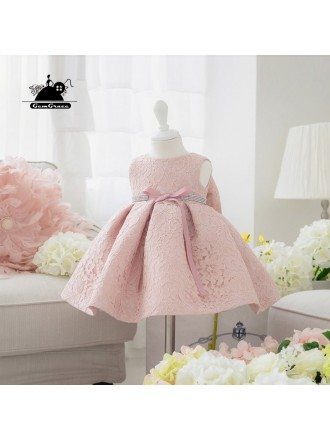 Blush Pink Lace Flower Girl Dress With Bow Toddler Girls Pageant Gown