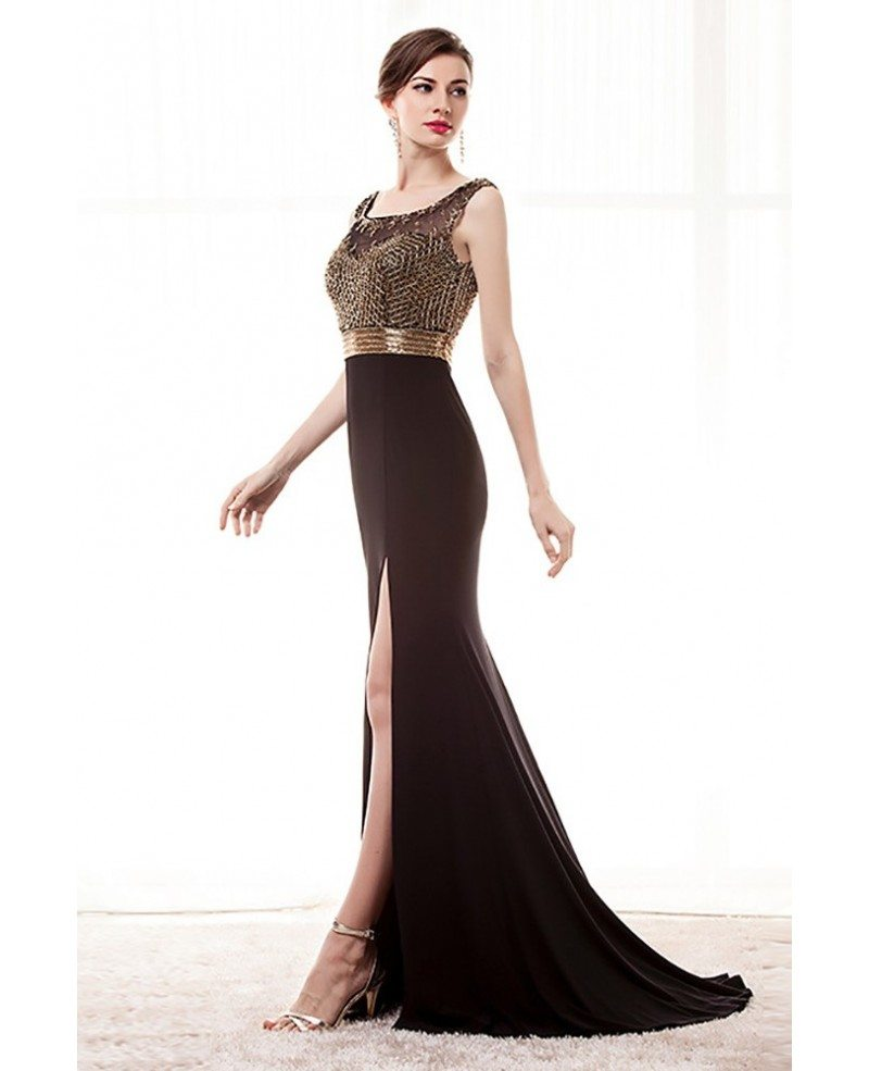 Beaded Black Tight Formal Dress With Slit Front For Women