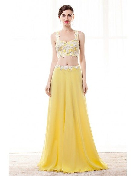 2 Piece Yellow Semi Formal Dress Crop Top With Lace Beading