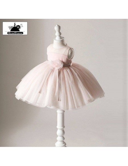 High-end Pink Tutus Tulle Flower Girl Dress Ballet Performance Pageant Gown